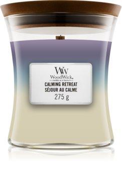 Woodwick Trilogy Calming Retreat świeczka zapachowa  z drewnianym knotem