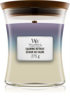 Woodwick Trilogy Calming Retreat ароматна свещ  с дървен фитил