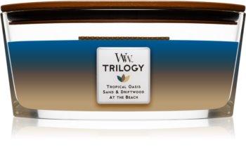Woodwick Trilogy Nautical Escape duftlys trævæge (hjertevæge)