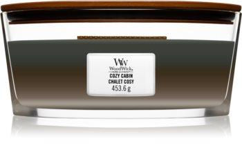 Woodwick Trilogy Cozy Cabin mirisna svijeća s drvenim fitiljem (hearthwick)