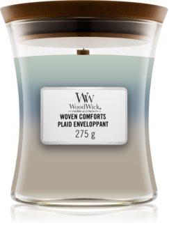 Woodwick Trilogy Woven Comforts vonná svíčka s dřevěným knotem