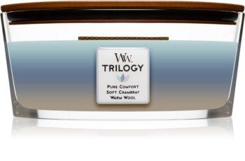 Woodwick Trilogy Woven Comforts ароматическая свеча с деревянным фителем (hearthwick)