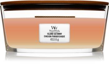Woodwick Trilogy Island Getaway ароматна свещ  с дървен фитил (hearthwick)