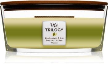 Woodwick Trilogy Garden Oasis mirisna svijeća s drvenim fitiljem (hearthwick)