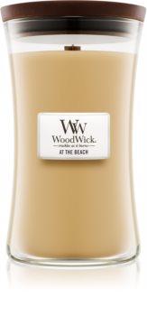 Woodwick At The Beach świeczka zapachowa  z drewnianym knotem