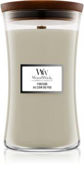 Woodwick Fireplace Fireside mirisna svijeća s drvenim fitiljem