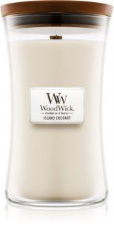 Woodwick Island Coconut lumânare parfumată  cu fitil din lemn