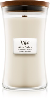 Woodwick Island Coconut świeczka zapachowa  z drewnianym knotem