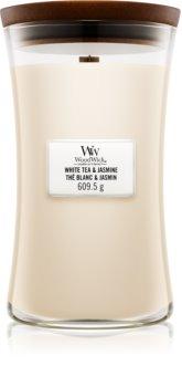 Woodwick White Tea & Jasmine lumânare parfumată  cu fitil din lemn