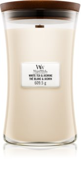 Woodwick White Tea & Jasmine mirisna svijeća s drvenim fitiljem