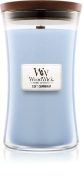 Woodwick Soft Chambray bougie parfumée avec mèche en bois