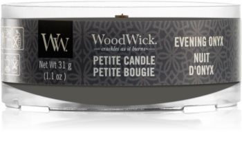 Woodwick Evening Onyx mala mirisna svijeća bez staklene posude s drvenim fitiljem