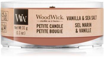 Woodwick Vanilla & Sea Salt mala mirisna svijeća bez staklene posude s drvenim fitiljem