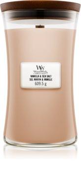 Woodwick Vanilla & Sea Salt ароматна свещ  с дървен фитил
