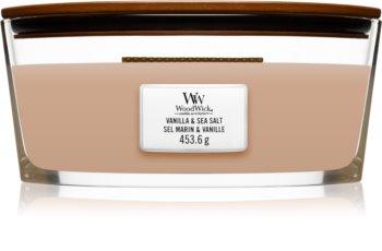 Woodwick Vanilla & Sea Salt ароматна свещ  с дървен фитил (hearthwick)