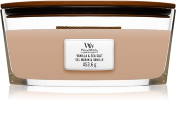 Woodwick Vanilla & Sea Salt illatos gyertya  fa kanóccal (hearthwick)