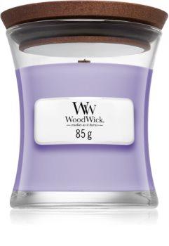 Woodwick Lavender Spa dišeča sveča  z lesenim stenjem