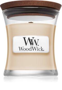 Woodwick Vanilla Bean dišeča sveča  z lesenim stenjem