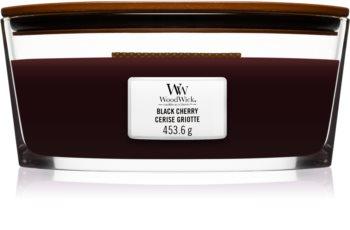 Woodwick Black Cherry dišeča sveča  z lesenim stenjem (hearthwick)