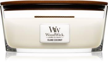 Woodwick Island Coconut aроматична свічка з дерев'яним гнітом (hearthwick)