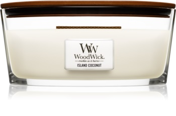 Woodwick Island Coconut duftlys trævæge (hjertevæge)