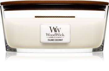 Woodwick Island Coconut lumânare parfumată  cu fitil din lemn (hearthwick)