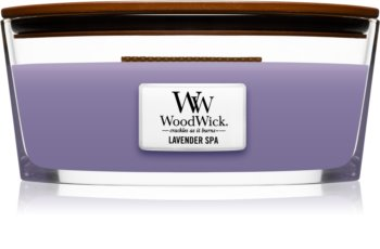 Woodwick Lavender Spa scented candle wooden wick (hearthwick)
