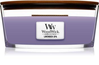 Woodwick Lavender Spa świeczka zapachowa  z drewnianym knotem (hearthwick)