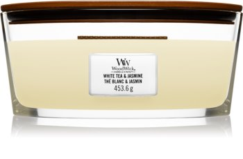 Woodwick White Tea & Jasmine scented candle wooden wick (hearthwick)