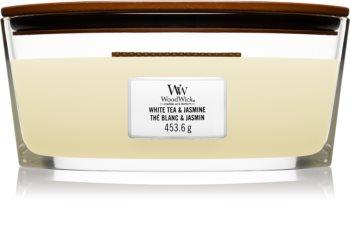 Woodwick White Tea & Jasmine świeczka zapachowa  z drewnianym knotem (hearthwick)