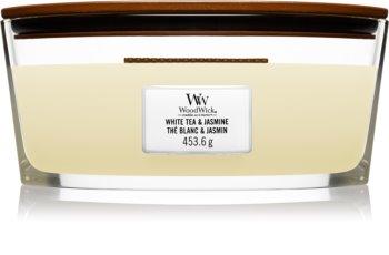 Woodwick White Tea & Jasmine Tuoksukynttilä puinen sydän (sydänlanka)