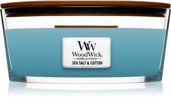 Woodwick Sea Salt & Cotton scented candle wooden wick (hearthwick)