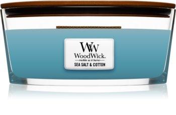 Woodwick Sea Salt & Cotton vonná sviečka s dreveným knotom (hearthwick)
