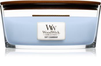 Woodwick Soft Chambray geurkaars met een houten lont (hearthwick)