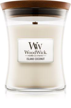Woodwick Island Coconut mirisna svijeća s drvenim fitiljem