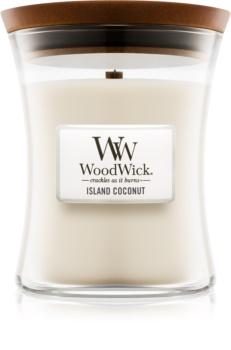 Woodwick Island Coconut ароматическая свеча с деревянным фителем