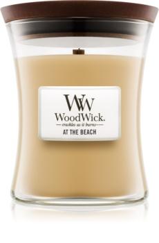 Woodwick At The Beach illatos gyertya  fa kanóccal