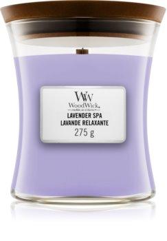 Woodwick Lavender Spa ароматическая свеча с деревянным фителем