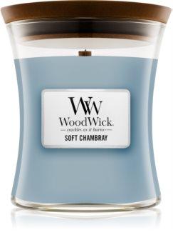 Woodwick Soft Chambray aроматична свічка з дерев'яним гнітом