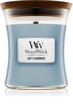 Woodwick Soft Chambray dišeča sveča  z lesenim stenjem