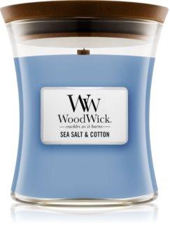 Woodwick Sea Salt & Cotton Duftkerze mit Holzdocht