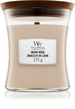 Woodwick Warm Wool dišeča sveča  z lesenim stenjem