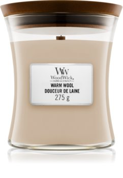 Woodwick Warm Wool mirisna svijeća s drvenim fitiljem
