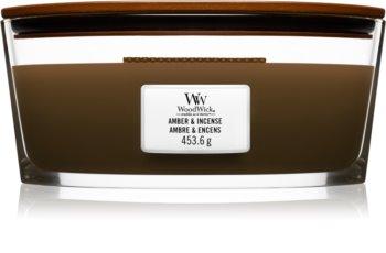 Woodwick Amber & Incense ароматна свещ  с дървен фитил (hearthwick)
