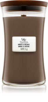 Woodwick Amber & Incense dišeča sveča  z lesenim stenjem