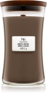 Woodwick Amber & Incense ароматическая свеча с деревянным фителем