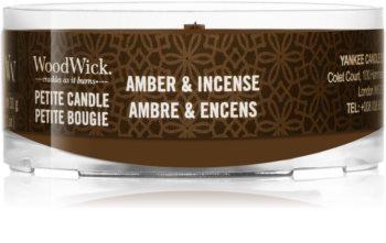 Woodwick Amber & Incense mala mirisna svijeća bez staklene posude s drvenim fitiljem