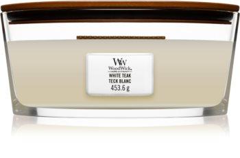 Woodwick White Teak geurkaars met een houten lont (hearthwick)