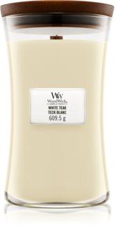 Woodwick White Teak illatos gyertya  fa kanóccal