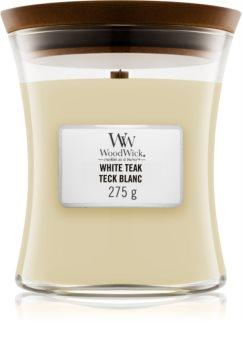 Woodwick White Teak ароматна свещ  с дървен фитил